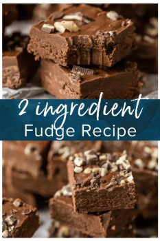 This 2 INGREDIENT ANDES MINT FUDGE is super simple, made with only frosting and melted andes mint chips! You can make this easy 2 ingredient fudge recipe in any flavor combo making it the so perfect, creamy, and tasty! Frosting Fudge for the win! #fudge #easy #chocolate #mint #christmas #homemade #frosting
