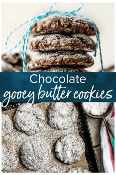 GOOEY BUTTER COOKIES are the perfect combination of gooey butter cake, chocolate brownies, and soft cookies! Being from St. Louis, we are big fans of gooey butter cake. It's even better when you add chocolate and make it into cookie form! Chocolate Cake Cookies just got an upgrade. This Chocolate Gooey Butter Cookies Recipe is one of my favorite Christmas cookie recipes!