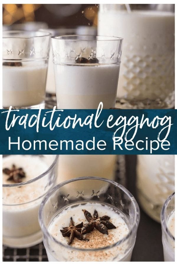 This TRADITIONAL EGGNOG is so much better than store bought! It's a creamy Christmas favorite that is a must make for the holidays. #christmas #eggnog #alcohol #rum #holidays #drinkrecipe