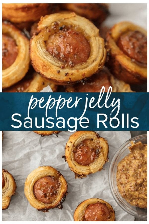 We are addicted to PEPPER JELLY SAUSAGE ROLLS! This easy holiday appetizer recipe is sure to please. So much flavor for such a bite sized appetizers recipe. #appetizer #christmas #pork #party #tailgating