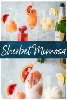 This is one of the BEST MIMOSA RECIPEfor any brunch. It would even make a great dessert cocktail. Sherbet Mimosas are a fun and creative way to dress up any mimosa recipe! Use the ice cream, sherbet, or sorbet flavor of your choice and mix with champagne. It's so fun, delicious, and beautiful! It's the perfect cocktail recipe to make for holidays, bridal showers, and beyond.