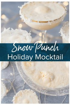 This fun and festive SNOW PUNCH is our favorite non-alcoholic Christmas punch recipe to make around the holidays. Christmas wouldn't be complete without this delicious Holiday mocktail loved by kids and adults alike! SO PRETTY! #mocktail #christmas #holiday #punch #cheers