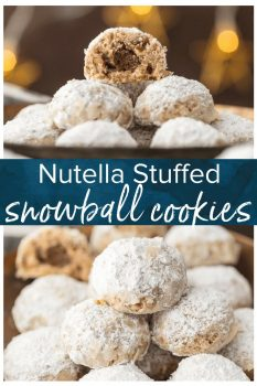 These NUTELLA STUFFED SNOWBALL COOKIES take a classic pecan snowball and kick it up a notch. You better make a double batch because this favorite Christmas cookie goes quick.