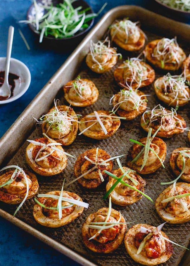 Spicy Hummus Stuffed Roasted Potato Cups   Running to the Kitchen