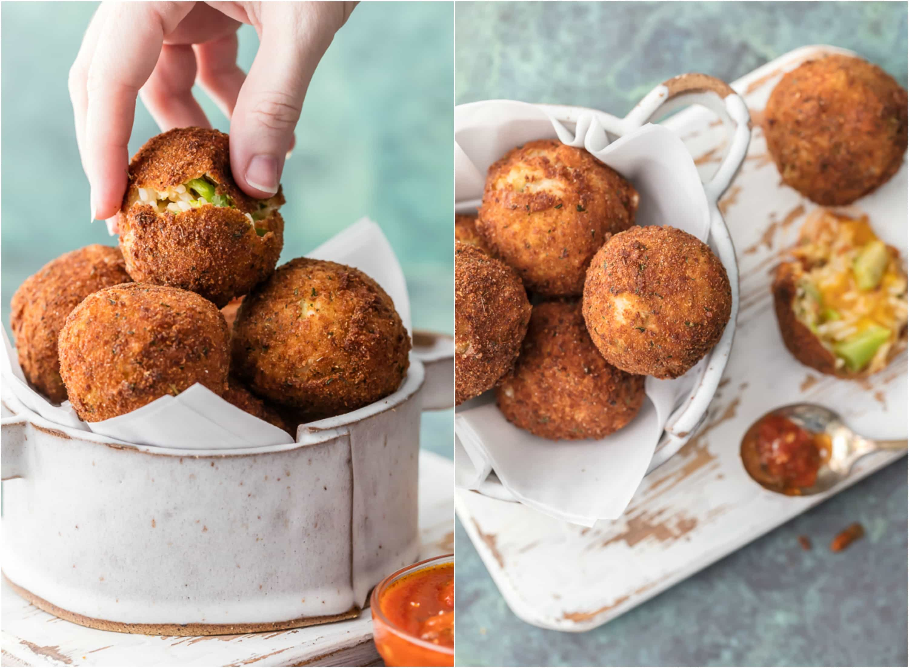 One of our favorite comfort food appetizers is BACON BROCCOLI CHEESE ARANCINI! These cheesy fried rice balls are the ultimate starter to any meal at home. So addicting and delicious!