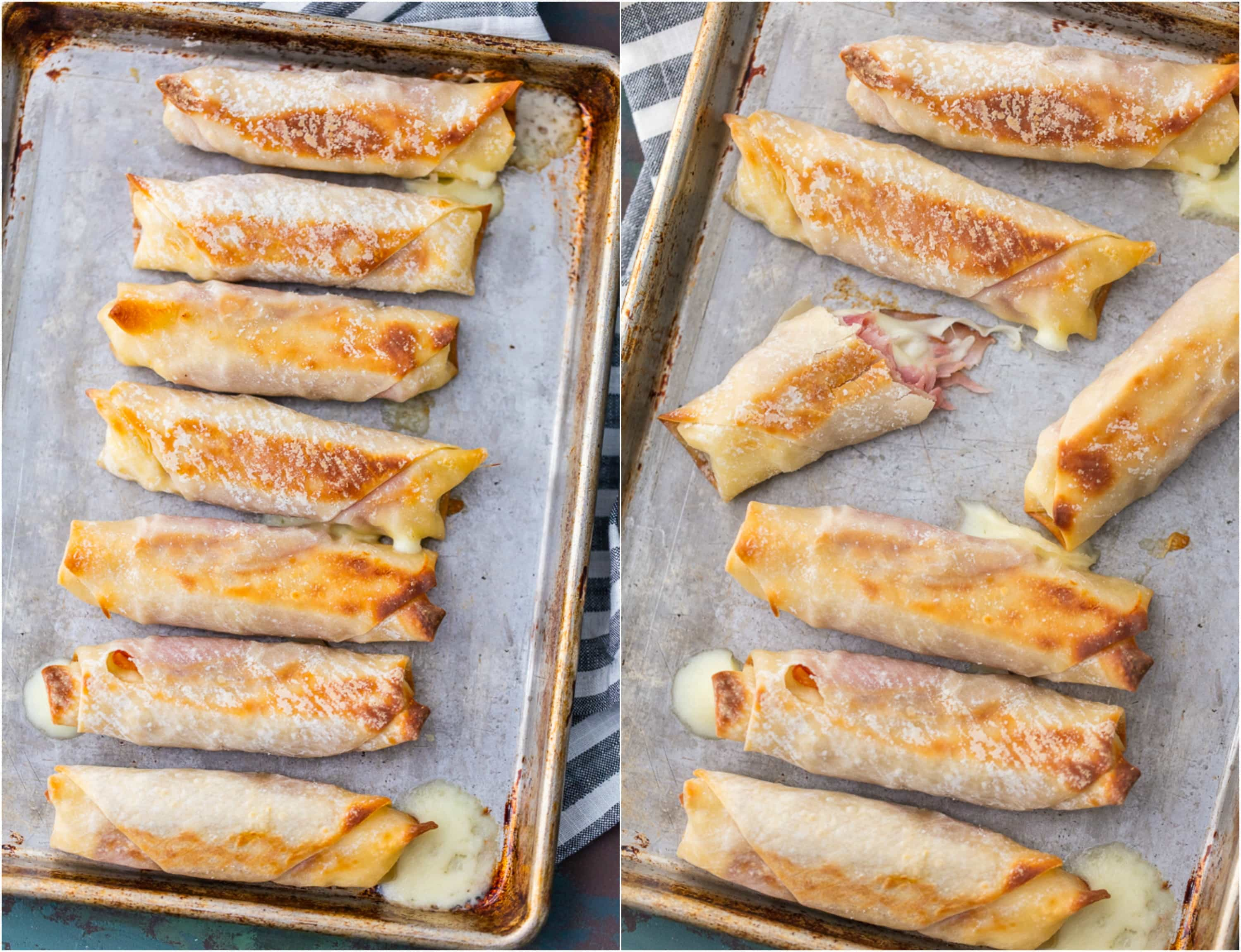 Baked Ham & Mozzarella Cheese Sticks arranged on baking trays