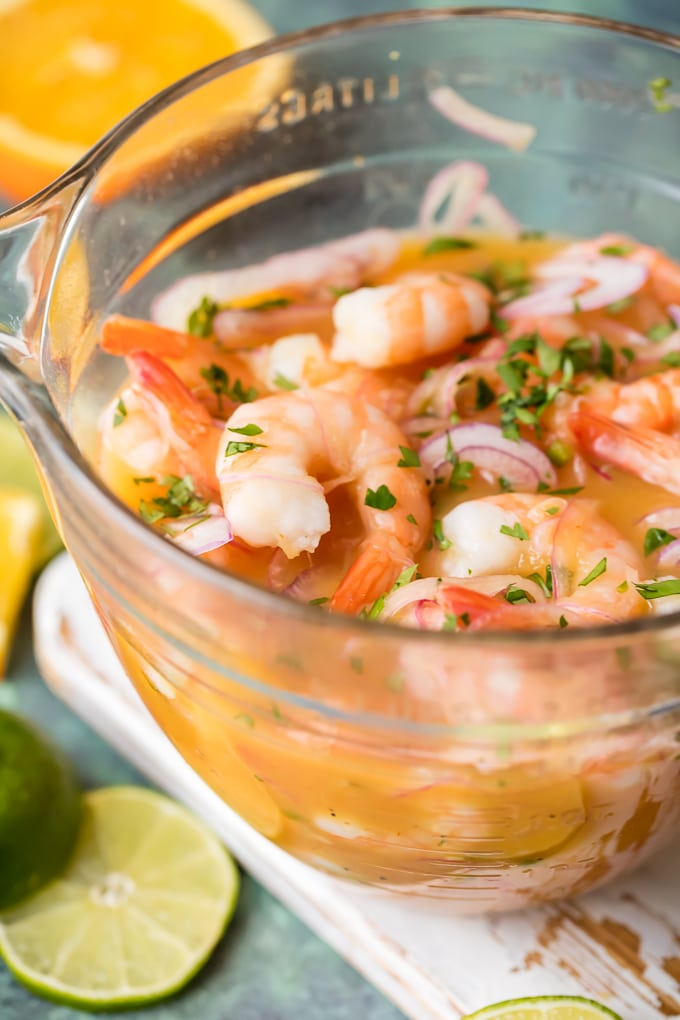 Shrimp Ceviche in a mixing bowl