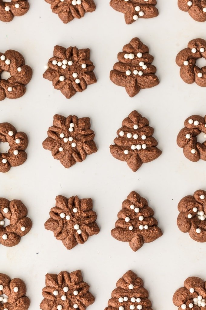 You'll never guess that these CHOCOLATE SPRITZ COOKIES are GLUTEN FREE! Utterly delicious, like little heavenly brownie bites. The ultimate EASY Christmas cookie recipe!