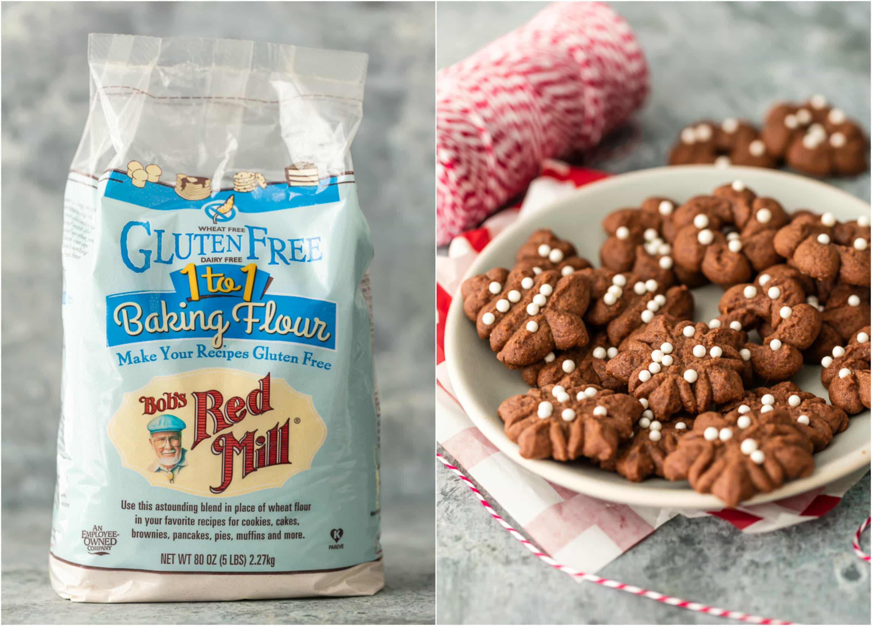 Bob's Red Mill Gluten Free Flour and a plate of spritz cookies