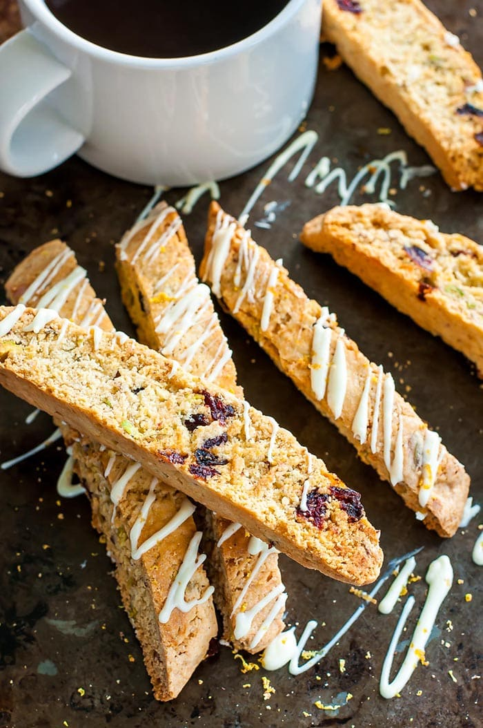 Cranberry Pistachio White Chocolate Biscotti | Peas and Crayons