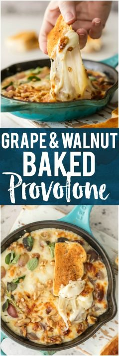 This GRAPE & WALNUT BAKED PROVOLONE is an easy, pretty, and delicious appetizer for the holiday season. Its so full of flavor but only has 3 INGREDIENTS! Obsessed.