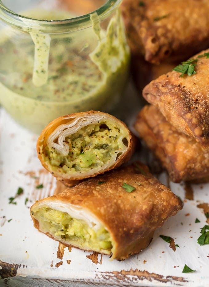 Egg Roll Recipe: Guacamole Egg Roll sliced in half