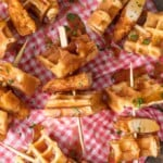 This Mini Chicken and Waffles Recipe is such a cute and delicious appetizer. These MINI CHICKEN AND WAFFLES ON A STICK are so fun and perfect for celebrating! Whether its the holidays or game day, these will wow any crowd. I love that these MiniChicken and Waffles are the perfect size. So delicious with syrup!