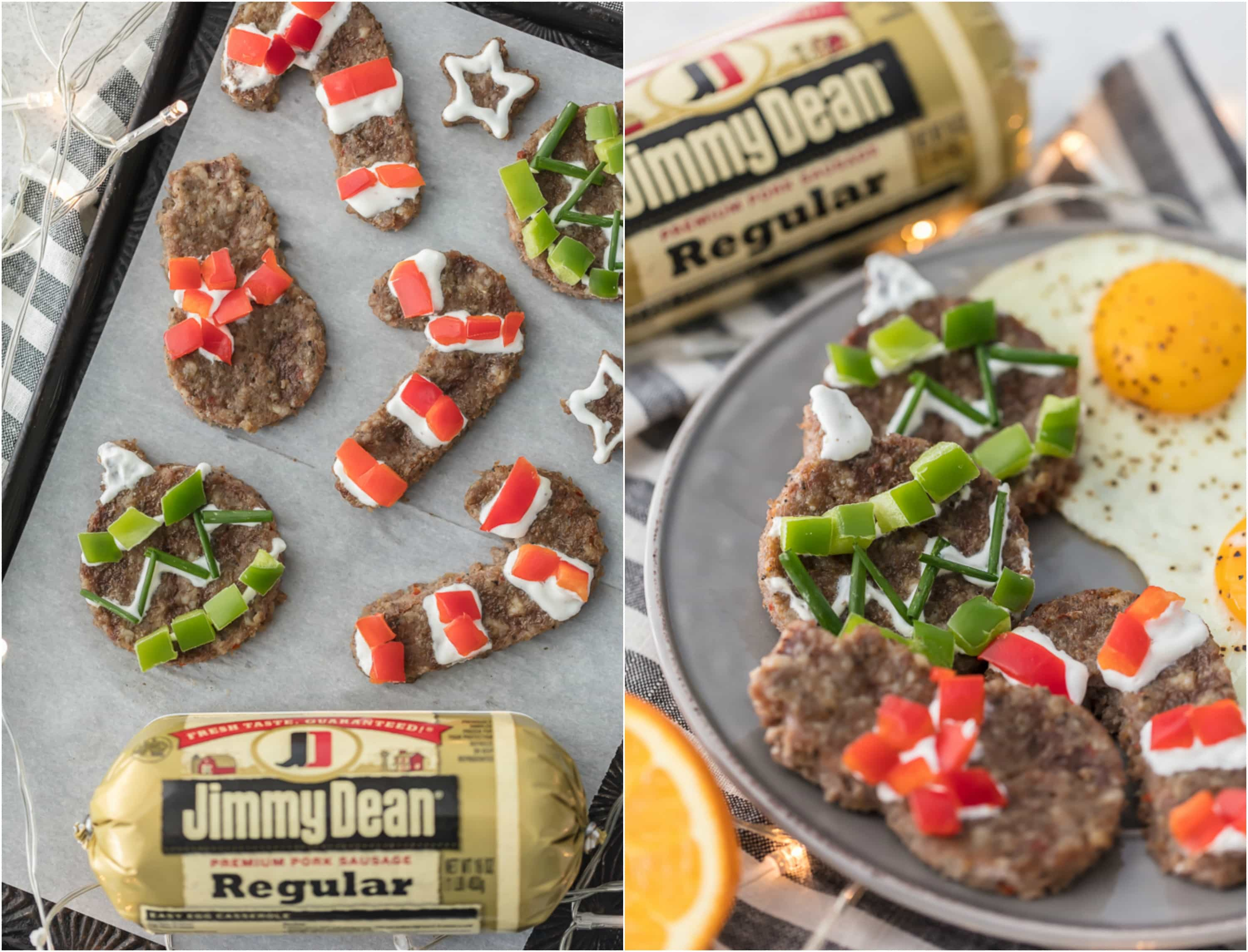 "photo collage of Christmas sausage ""cookies"" made with Jimmy Dean sausage"