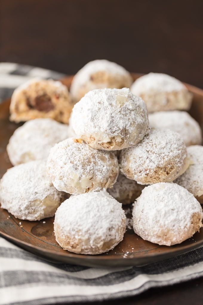 round platter of NUTELLA STUFFED SNOWBALL COOKIES