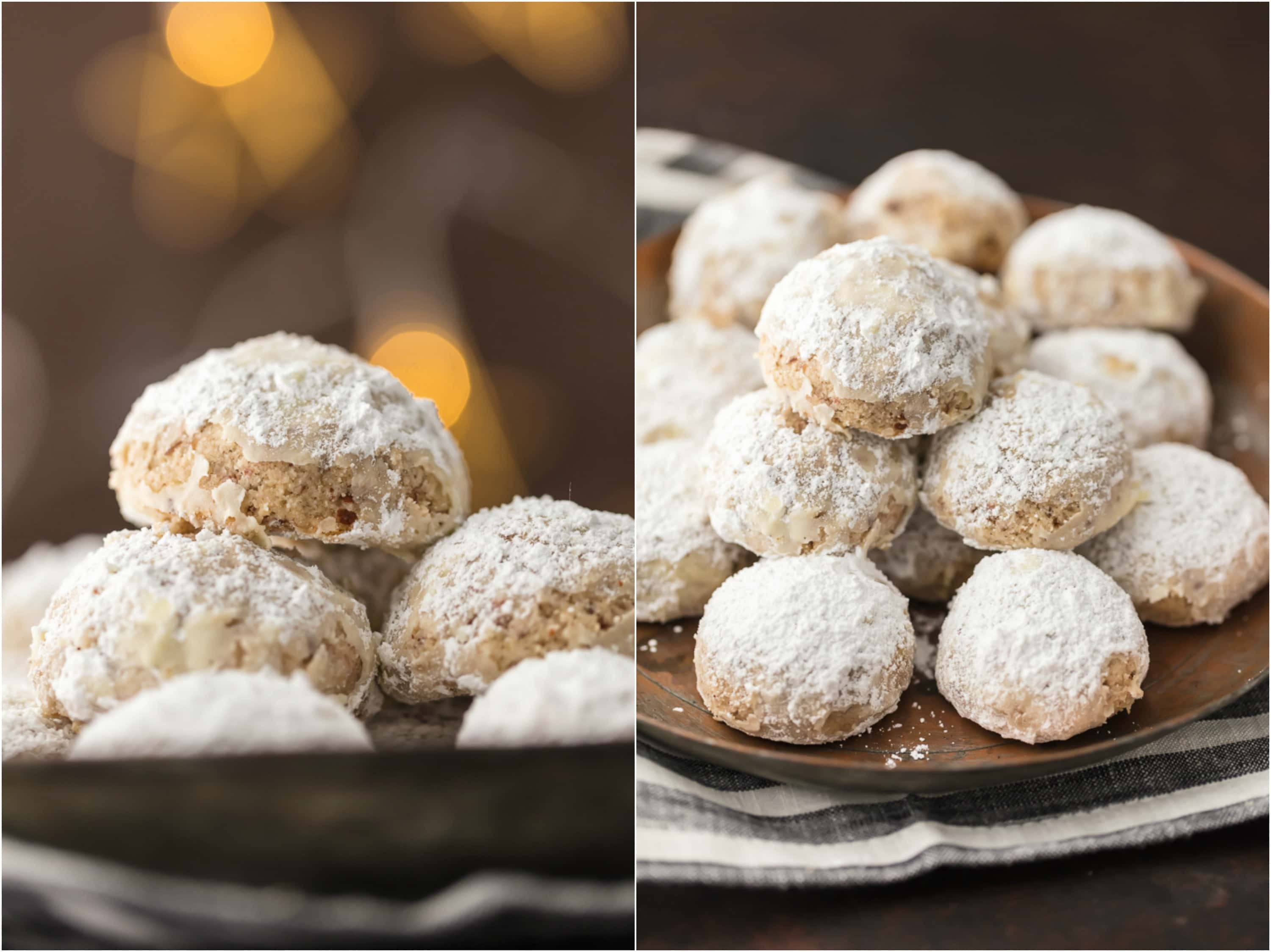 NUTELLA STUFFED SNOWBALL COOKIES photo collage