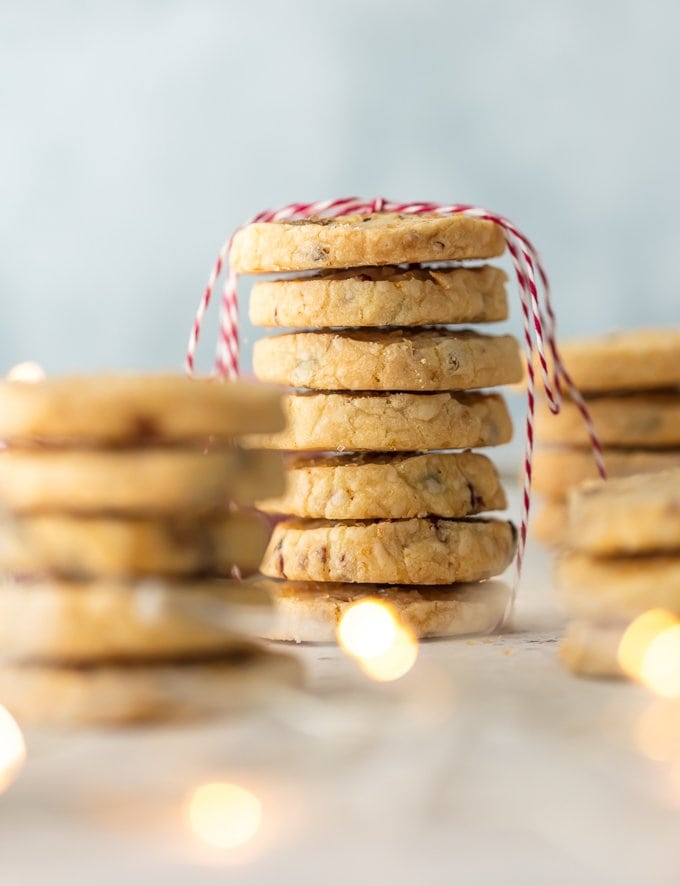 Stack of cranberry orange cookies