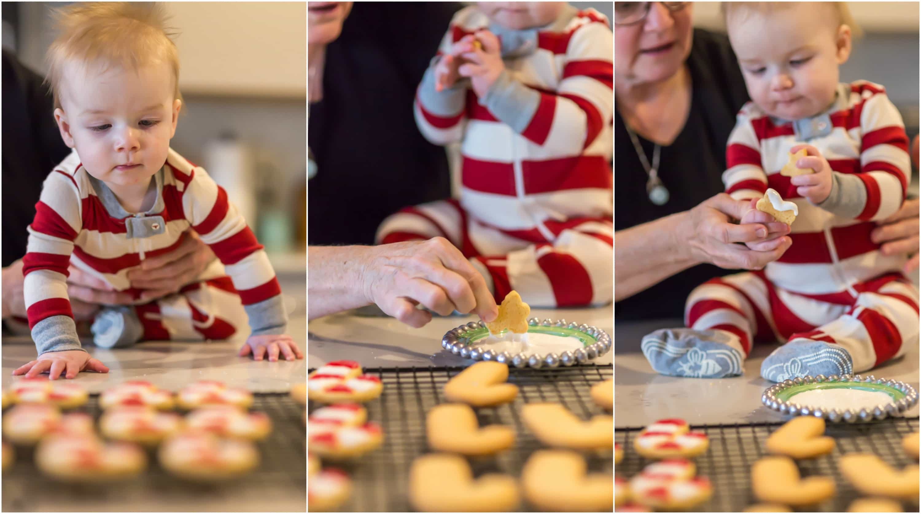 photo collage of a 9 month old baby boy wearing red and white striped pajamas decorating red and white candy cane Christmas cookies with his grandma