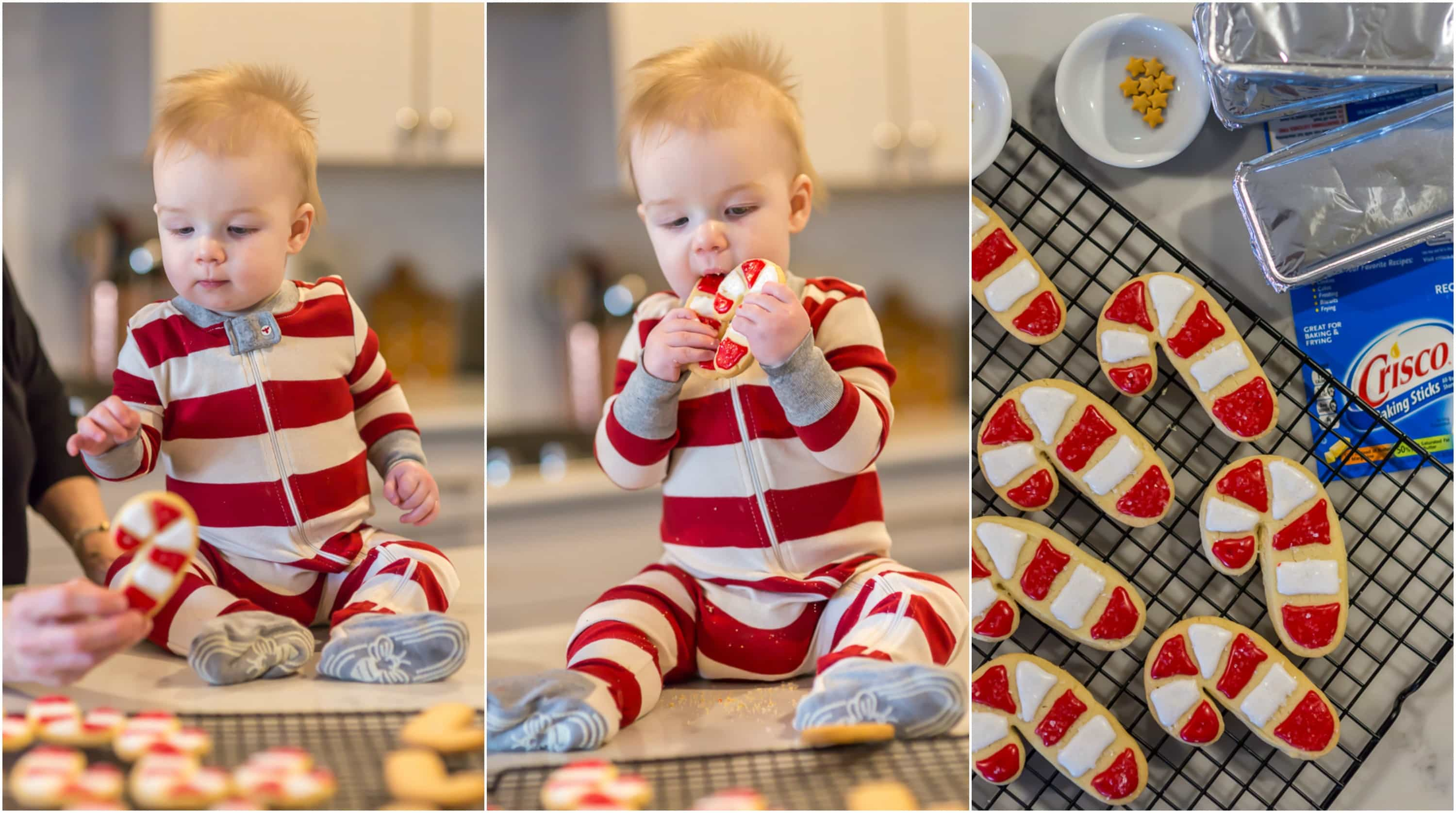 photo collage of Santa's favorite sugar cookies and a baby boy sampling them