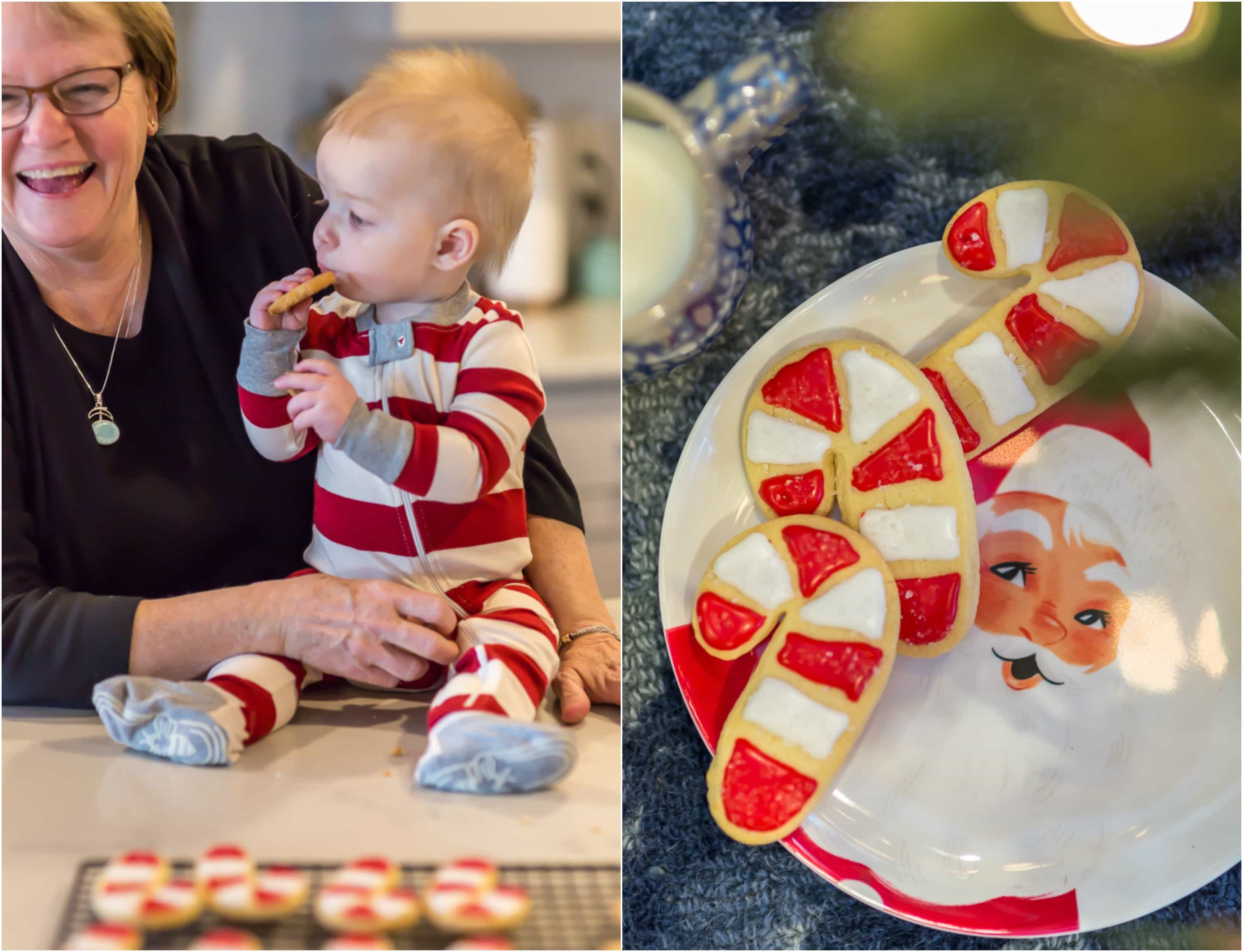 baby boy and grandma enjoying iced Christmas cookies and 2 striped candy cane cookies on a plate for Santa