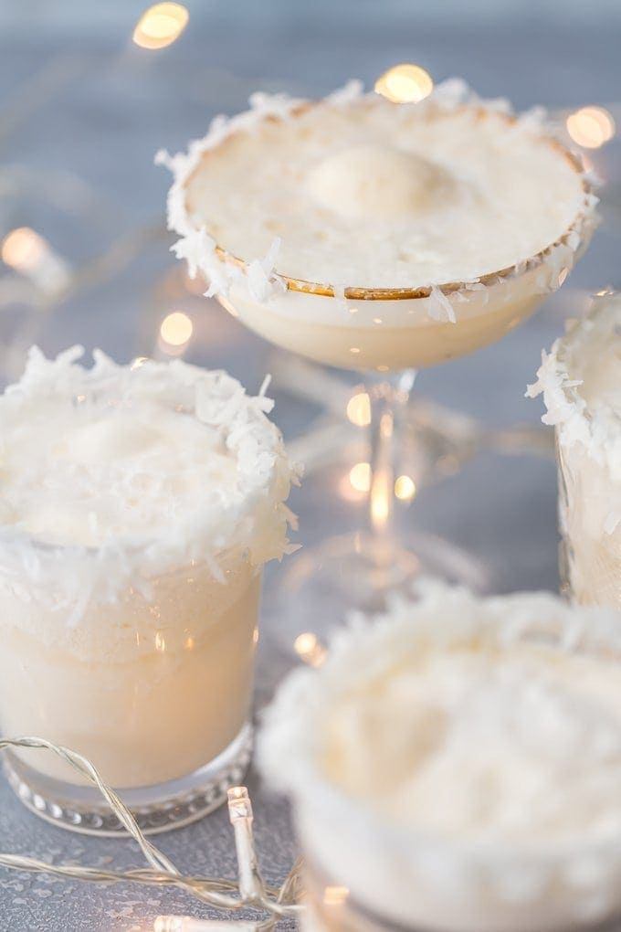 White non-alcoholic holiday punch called SNOW PUNCH