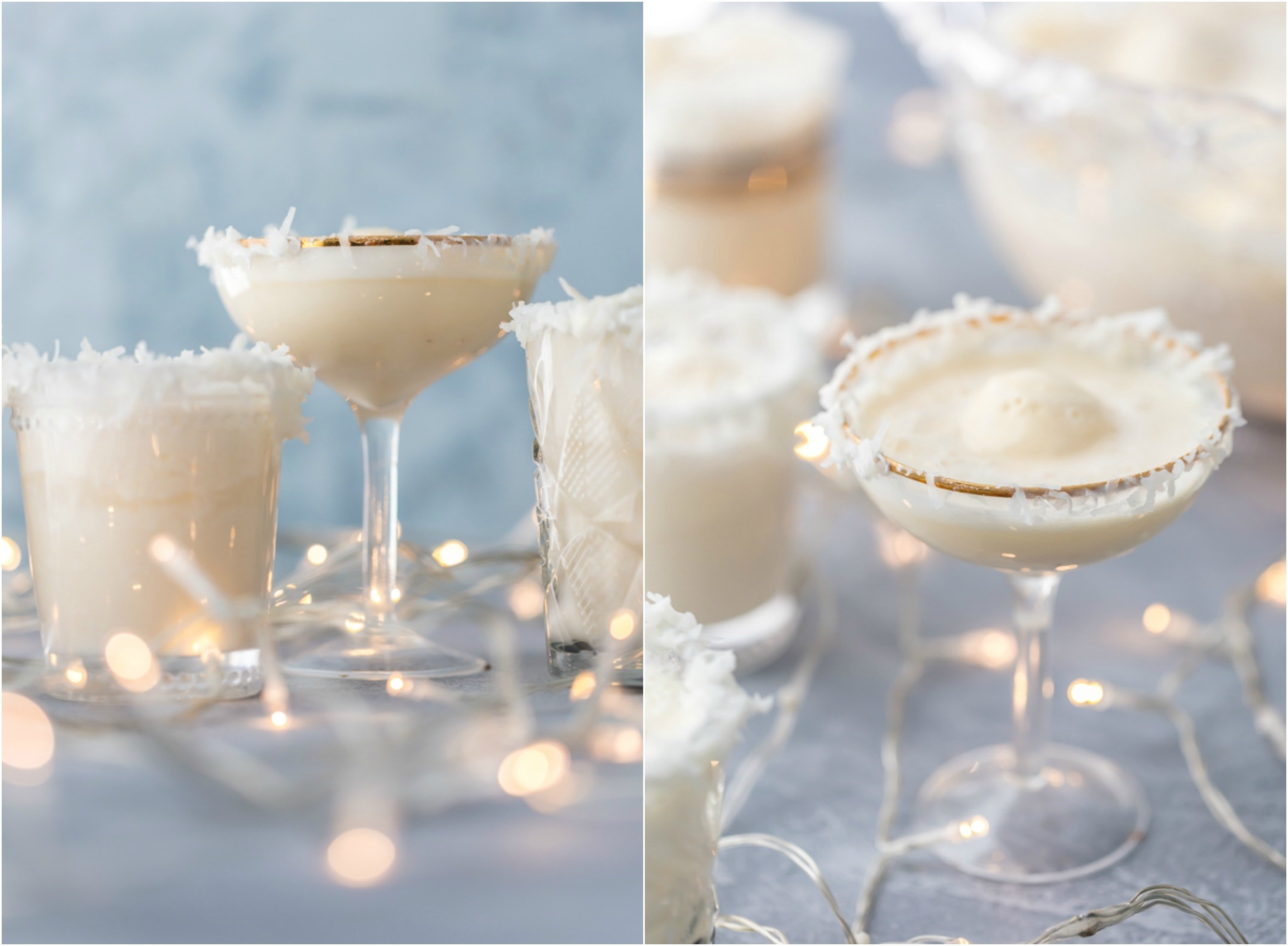 glasses of festive SNOW PUNCH Christmas mocktails. Glass rims garnished with vanilla frosting and shredded coconut
