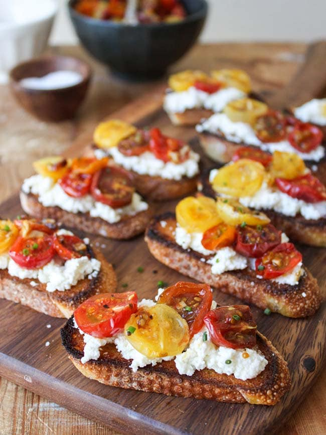 Homemade Ricotta with Slow Roasted Tomato Crostini | The Little Epicurean