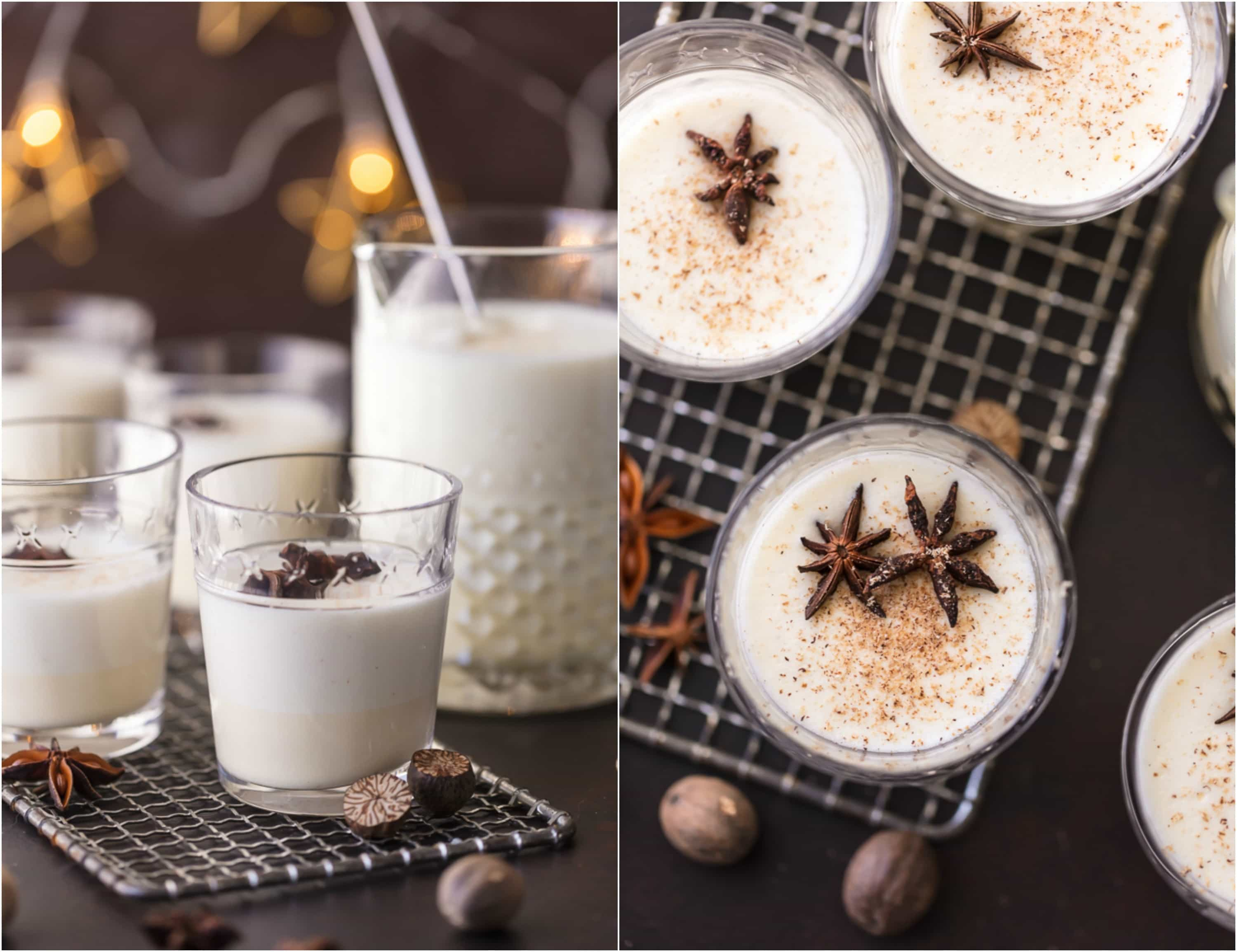 photo collage showing glasses of homemade traditional alcoholic eggnog