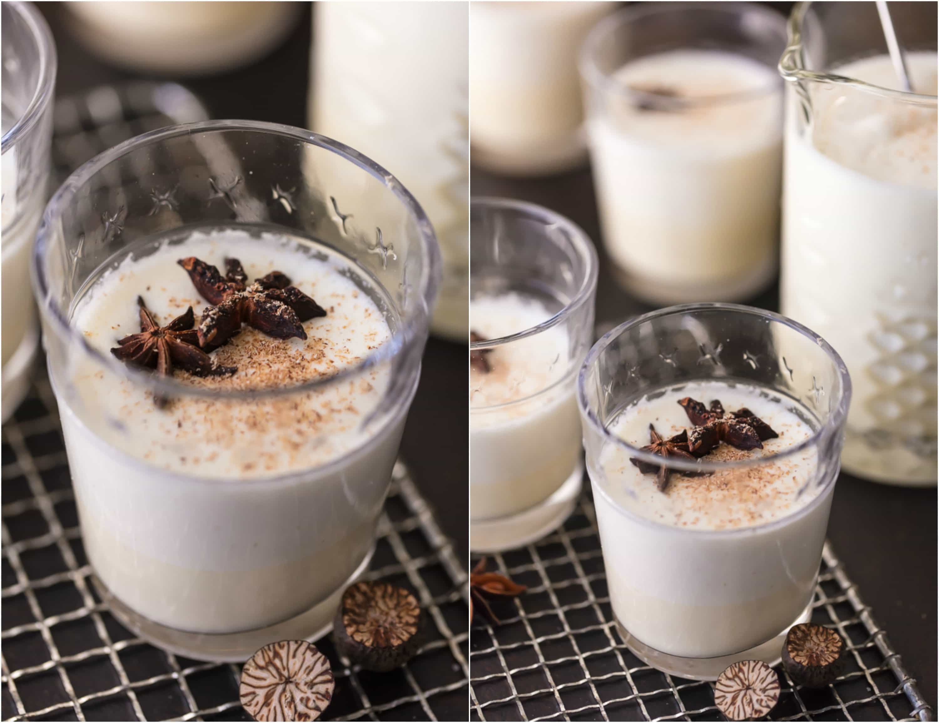 photo collage of glasses of homemade traditional eggnog with star anise floating in the glasses