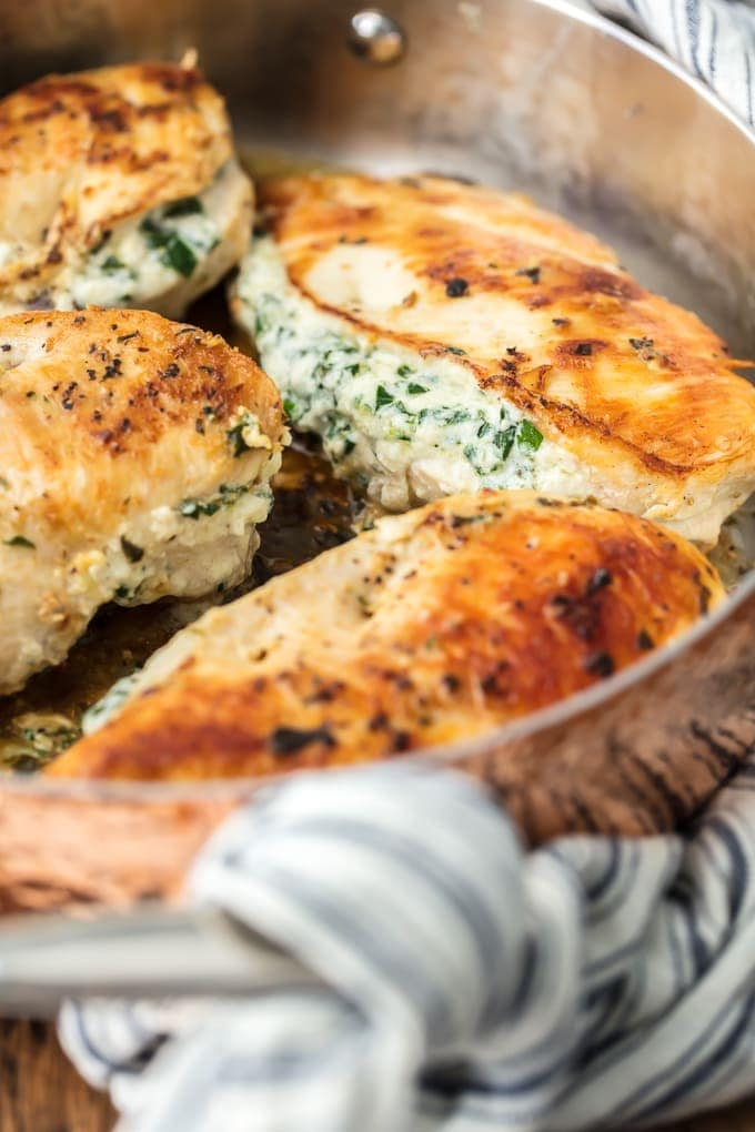 Spinach Stuffed Chicken Breast cooking in pan