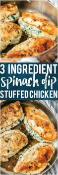 This 3 INGREDIENT SPINACH DIP STUFFED CHICKEN is healthy(er), made in under 30 minutes, and done in just ONE PAN! It doesn't get easier, more flavorful, or more perfect. Cheesy delicious goodness. One of our favorite chicken recipes!