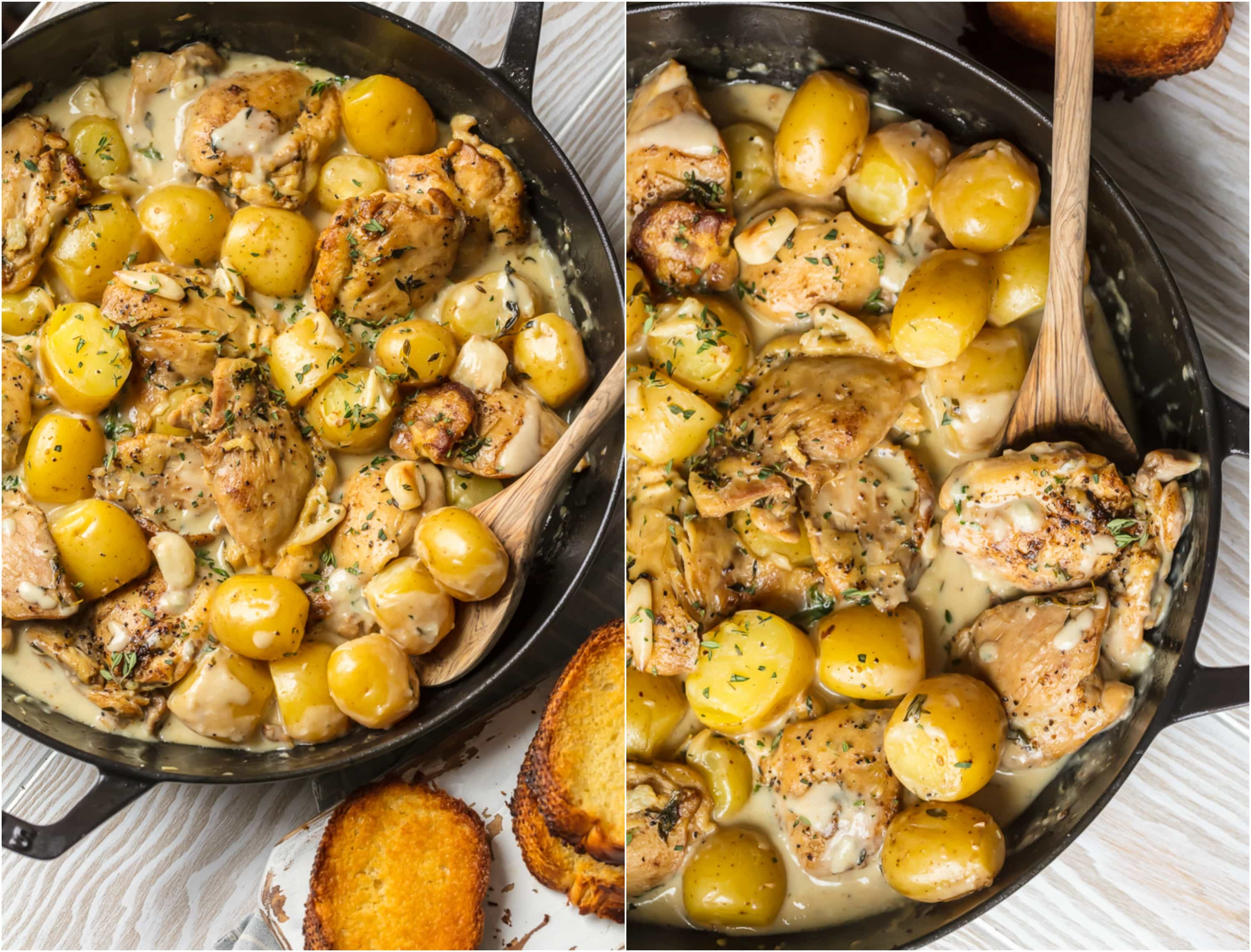 40 Clove Garlic Chicken and Potatoes in skillet