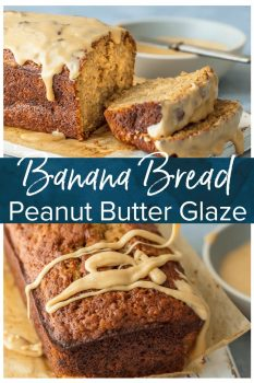 EASY BANANA BREAD RECIPE with Peanut Butter Glaze makes me think that I might just be able to bake after all! Even if you think you don't know how to make banana bread, anyone can make Simple Banana Bread and today is the day! That salted peanut butter banana bread glaze takes the cake, literally! This Easy Banana Bread is something your family will crave and request time and time again. The ultimate easy bread recipe.