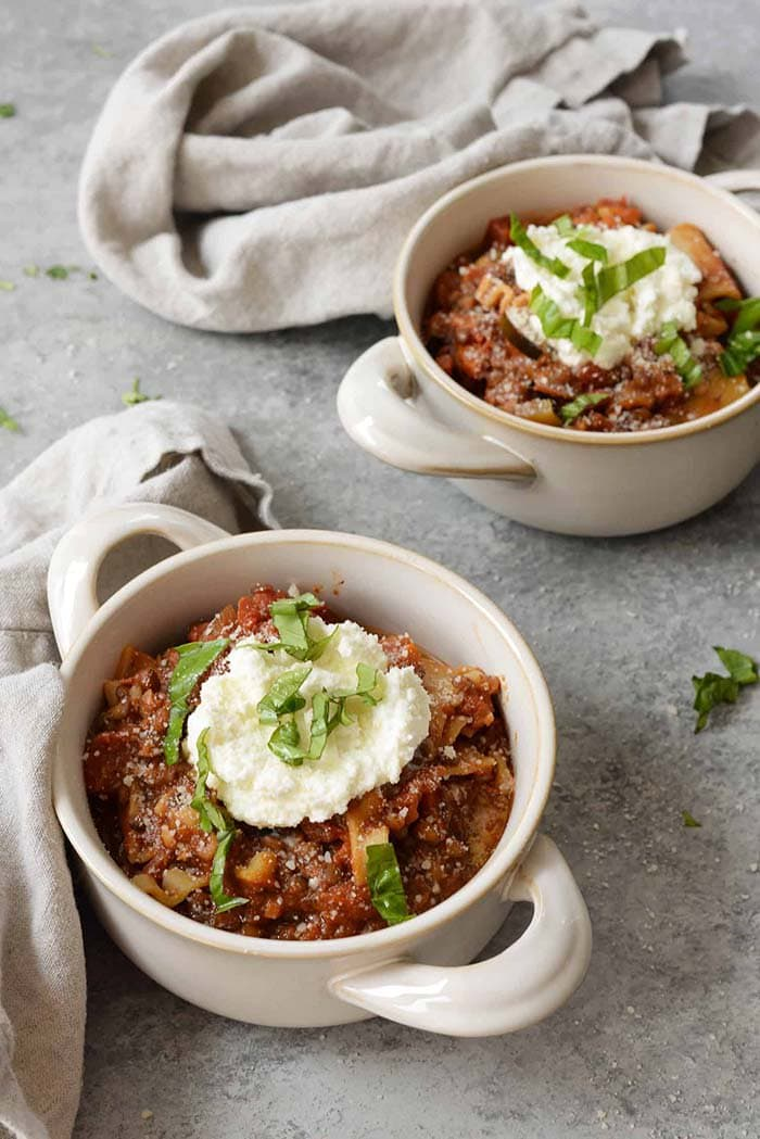 Slow Cooker Lentil Lasagna Soup | Delish Knowledge