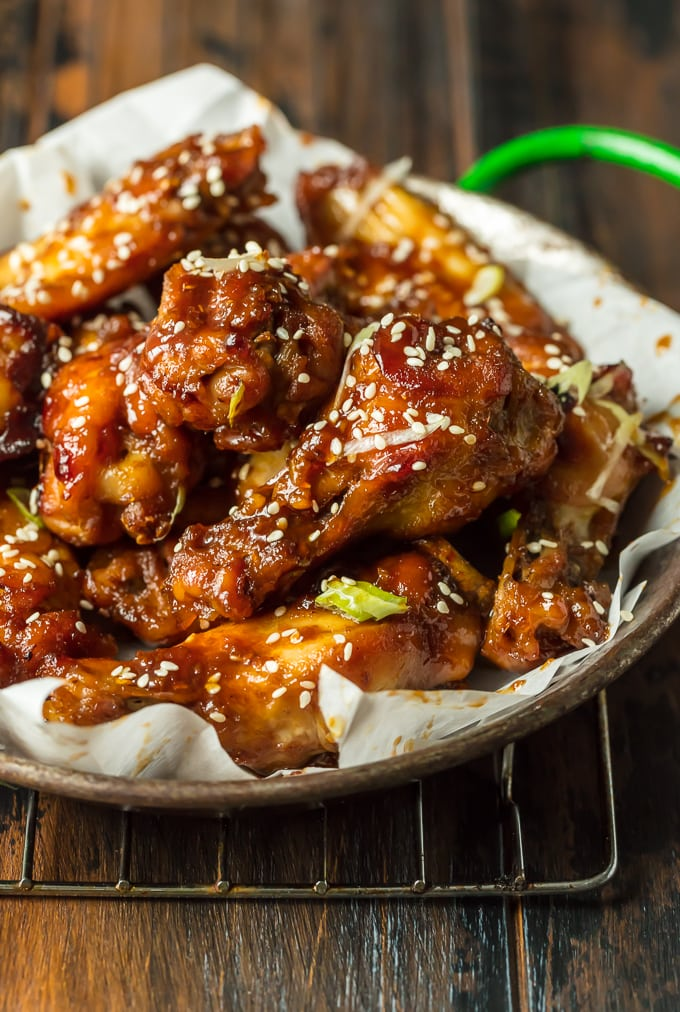 Plate of sesame baked chicken wings