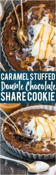This CARAMEL STUFFED DOUBLE CHOCOLATE SHARE COOKIE is the stuff dreams are made of! This is our favorite oh so decadent dessert to make for any and every celebration. Gooey chocolate cookies for the win!