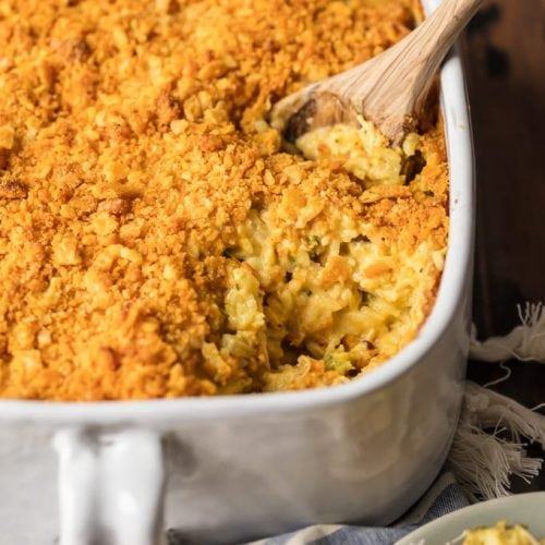 This CHEESY BROCCOLI CHICKEN RICE CASSEROLE is a favorite comfort food recipe. Loaded with everything that makes you think of home, you'll be shocked how easy it is to come together. This is the type of cheesy recipe your family will request time and time again.