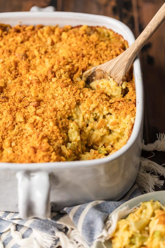 Chicken and Rice Casserole with Broccoli in a baking dish