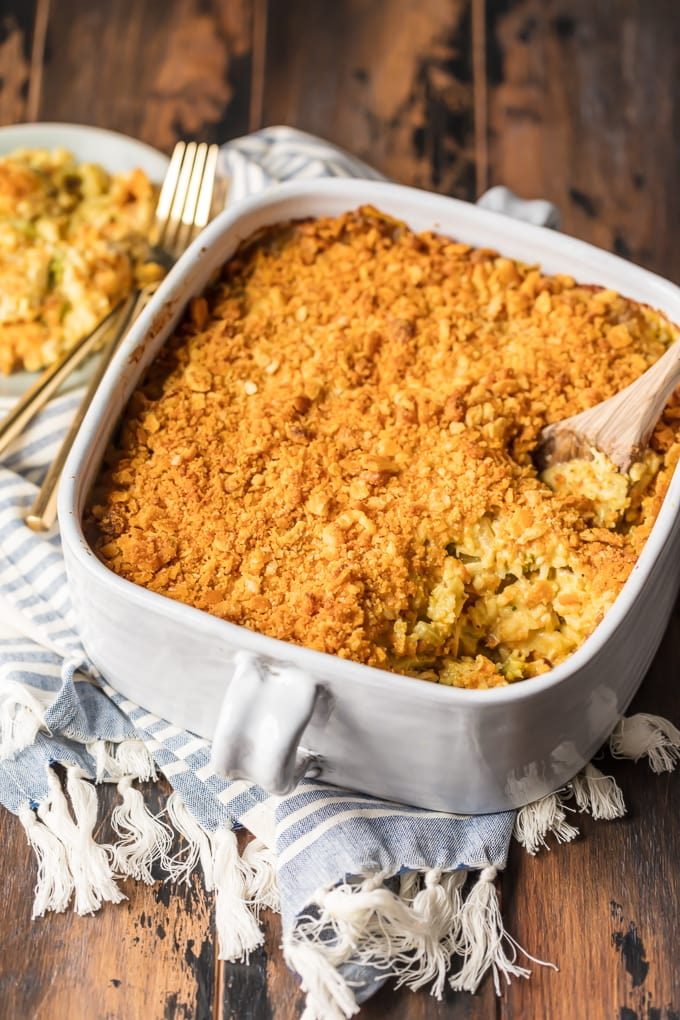 Chicken and Rice Casserole with Broccoli in a square dish