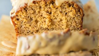 Easy Banana Bread Recipe with Peanut Butter Glaze