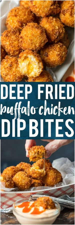 These FRIED BUFFALO CHICKEN DIP BITES are amazing! Balls of cheesy buffalo chicken dip rolled twice in breading and deep fried to pop-able perfection. This is one of our favorite game day recipes for tailgating. Bring on the Super Bowl!