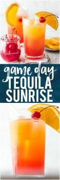 This GAME DAY TEQUILA SUNRISE is tailor made for tailgating! Made with Orange Juice, Grenadine, Tequila, and Beer, this fun cocktail is loved by all and an awesome way to start the day cheering for your favorite team. The ultimate brunch cocktail!