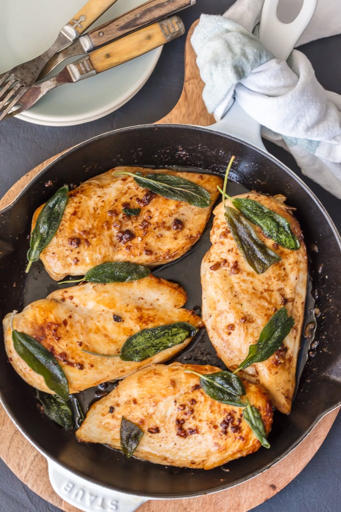Garlic and sage Chicken Breast in skillet