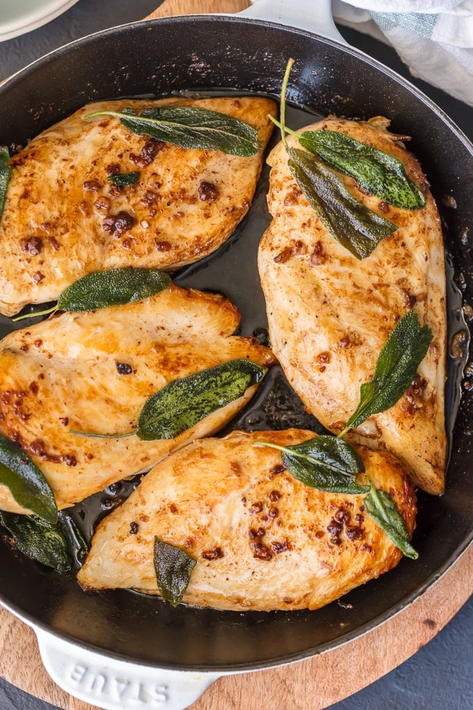 Garlic Brine Chicken Breast in skillet