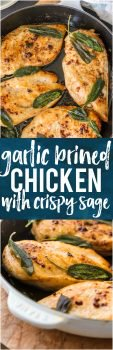 This GARLIC BRINED CHICKEN WITH CRISPY SAGE is one of our favorite easy meals for entertaining guests or a delicious night at home. You won't believe how tasty these simple flavors are until you try them all together. The garlic brine makes the chicken SO TENDER and JUICY!