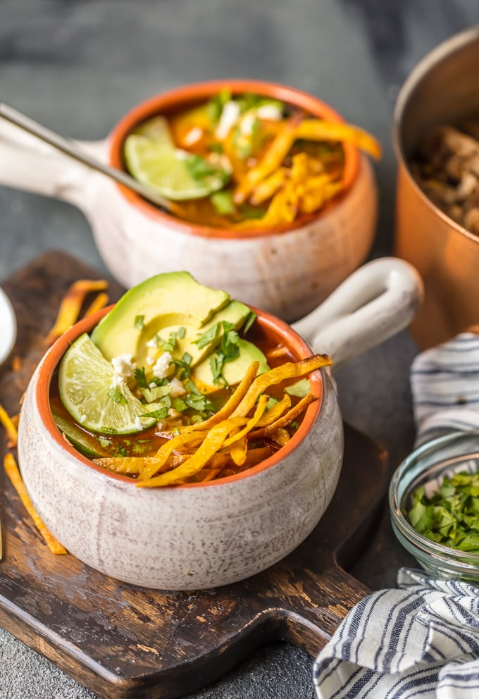 2 bowls of instant pot chicken tortilla soup