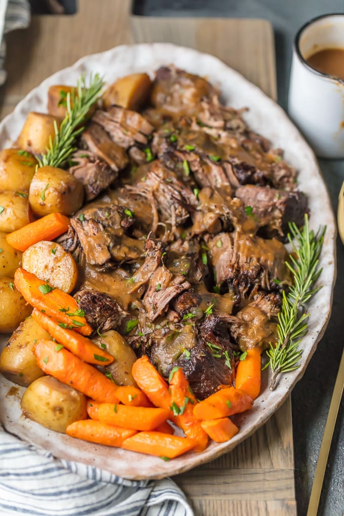 platter with pot roast and potatoes and carrots made in an instant pot