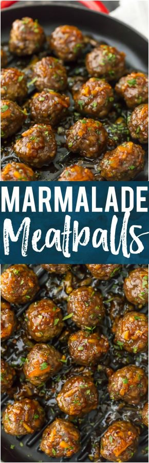 These ORANGE MARMALADE MEATBALLS are one of our favorite quick and fool-proof recipes for game day. I LOVE the bright orange flavor and mix of savory and sweet. These are gone in seconds each and every time we make them. Serve as an appetizer on their own or as a meal over rice!