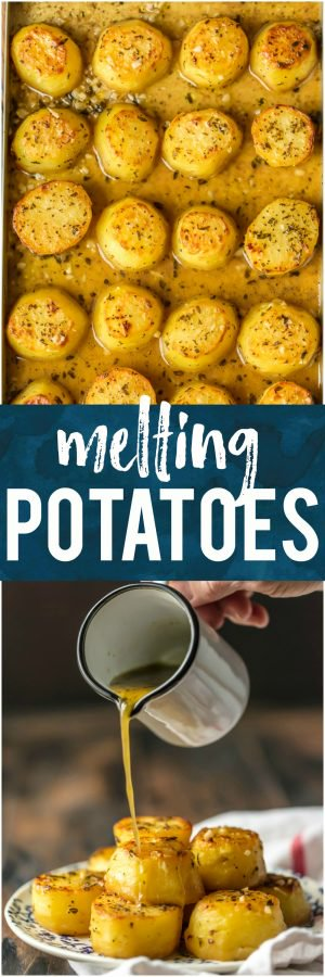 These OVEN ROASTED MELTING POTATOES are the ultimate side dish. Practically dripping butter, these soft and tender potatoes go with any and every meal and are sure to please. These are my very favorite potato side dish! It doesn't get better than this!