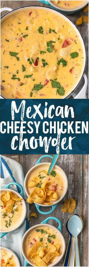 This MEXICAN CHEESY CHICKEN CHOWDER is the ultimate Winter comfort food soup! Loaded with spicy tomatoes, green peppers, hash brown potatoes, garlic, onion, CHEESE, and more, this was an instant favorite at our house. Serve with fritos or tortilla chips and you're in business. SO GOOD.